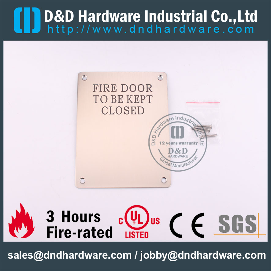 D&D Hardware-Stainless steel Fire Door Signature DDSP010