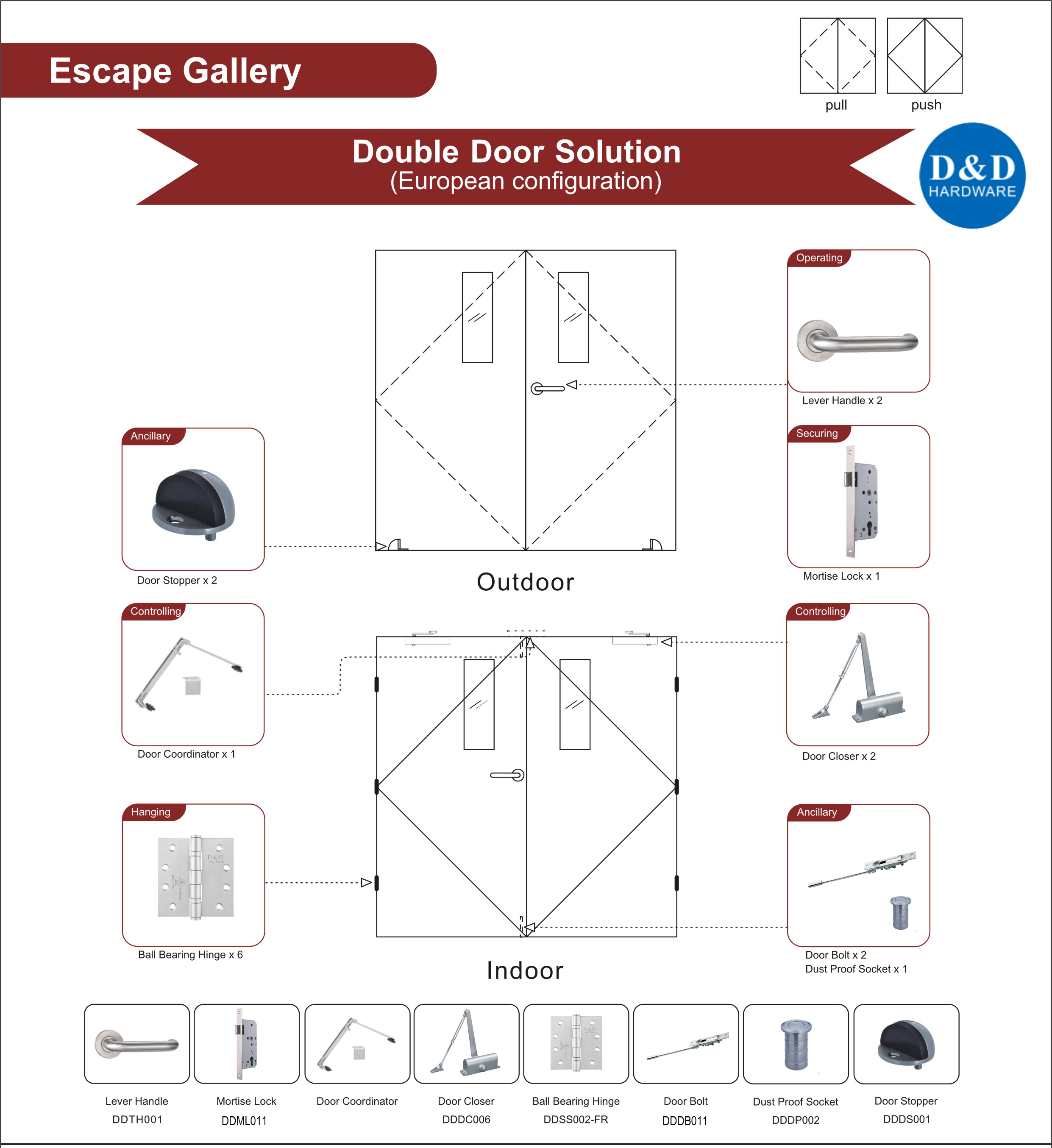 Fire Rated Steel Sound Insulation Door Hardware for Escape Gallery Double Door
