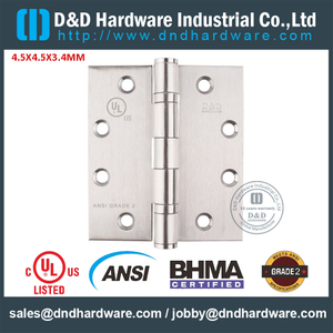 ANSI / BHMA GRADE 2-SS304 Fire Rated Door Hinge -4.5x4.5x3.4mm