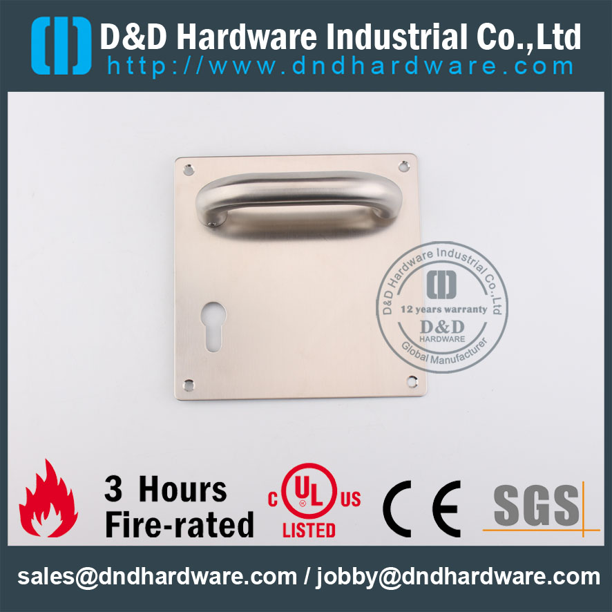 D&D Hardware-Stainless Steel Fire Rated Door lever handle with plate DDTP001
