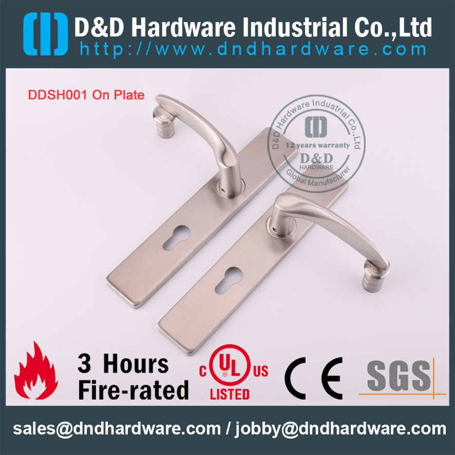 D&D Hardware-CE Certificate Fire Rated Lever handle on plate DDTP004