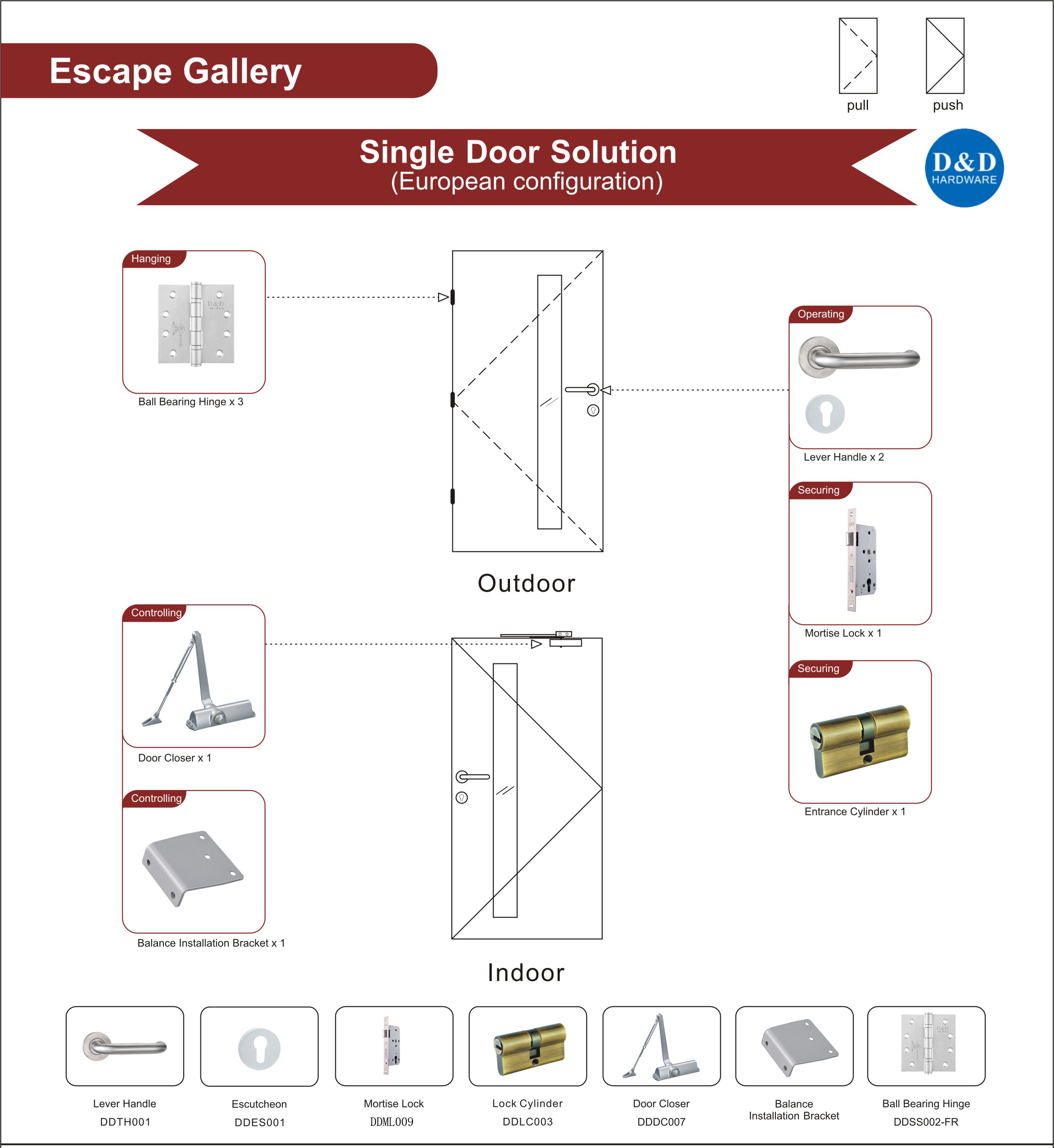 Steel Fire Rated Door Hardware for Escape Gallery Single Door