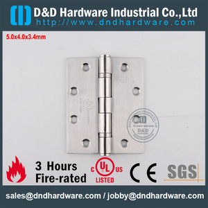 Stainless Steel 304 Modern UL Fire Rated 2BB Door Hinge for Outer Steel Door-DDSS006-FR-5x4x3.4mm