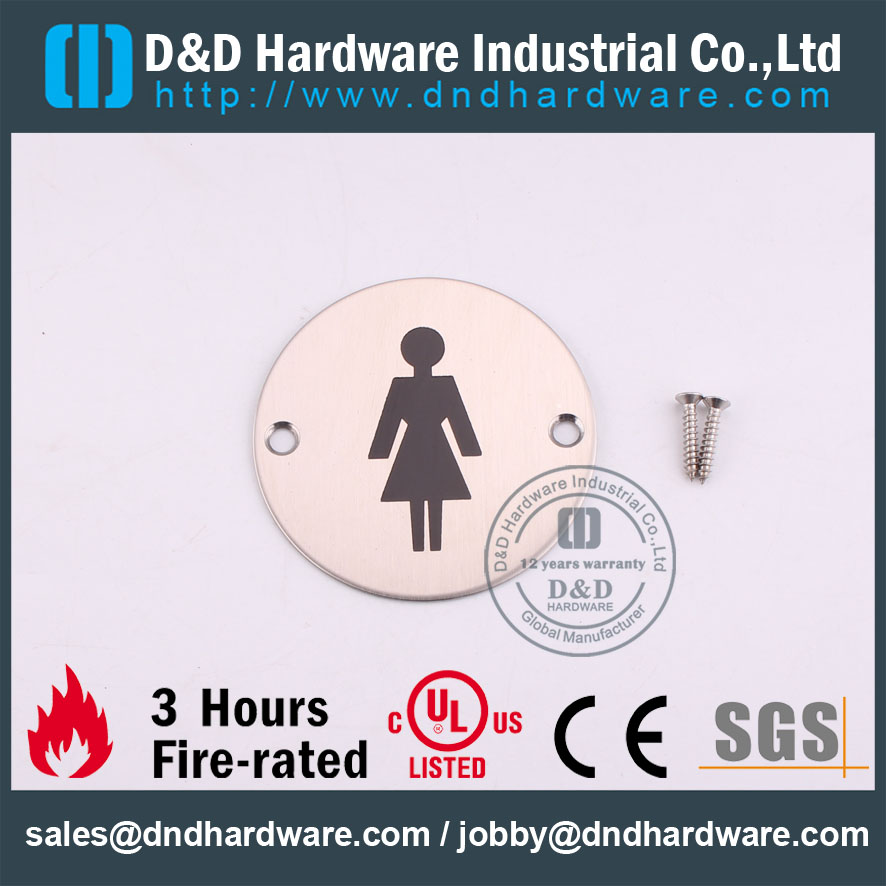 D&D Hardware-Round Stainless Steel Female Washroon Sign Plate DDSP002