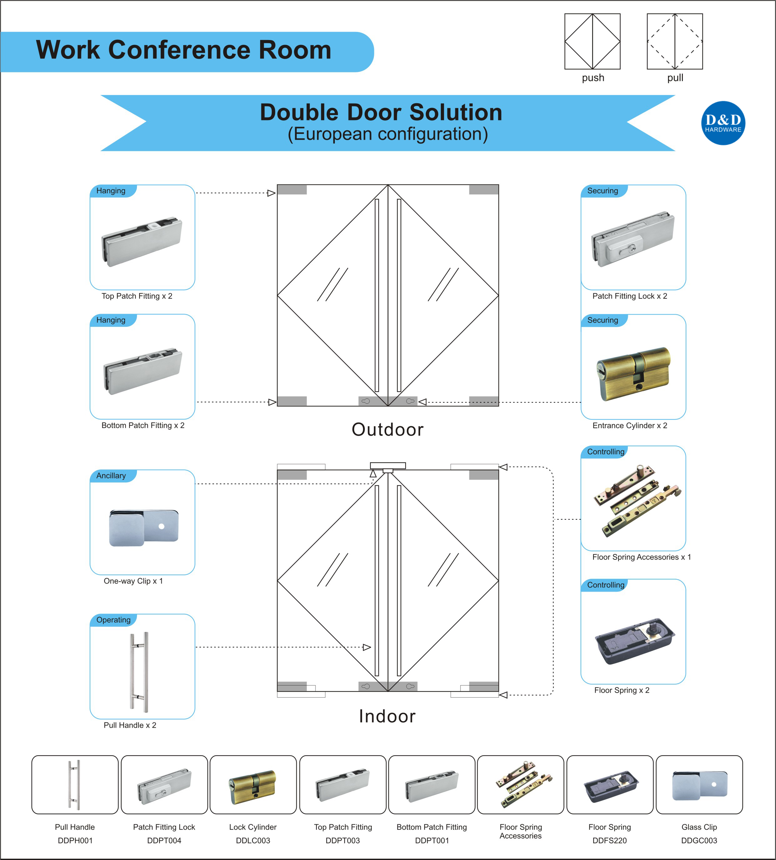 Glass Door Ironmongery for Work Conference Room Double Door