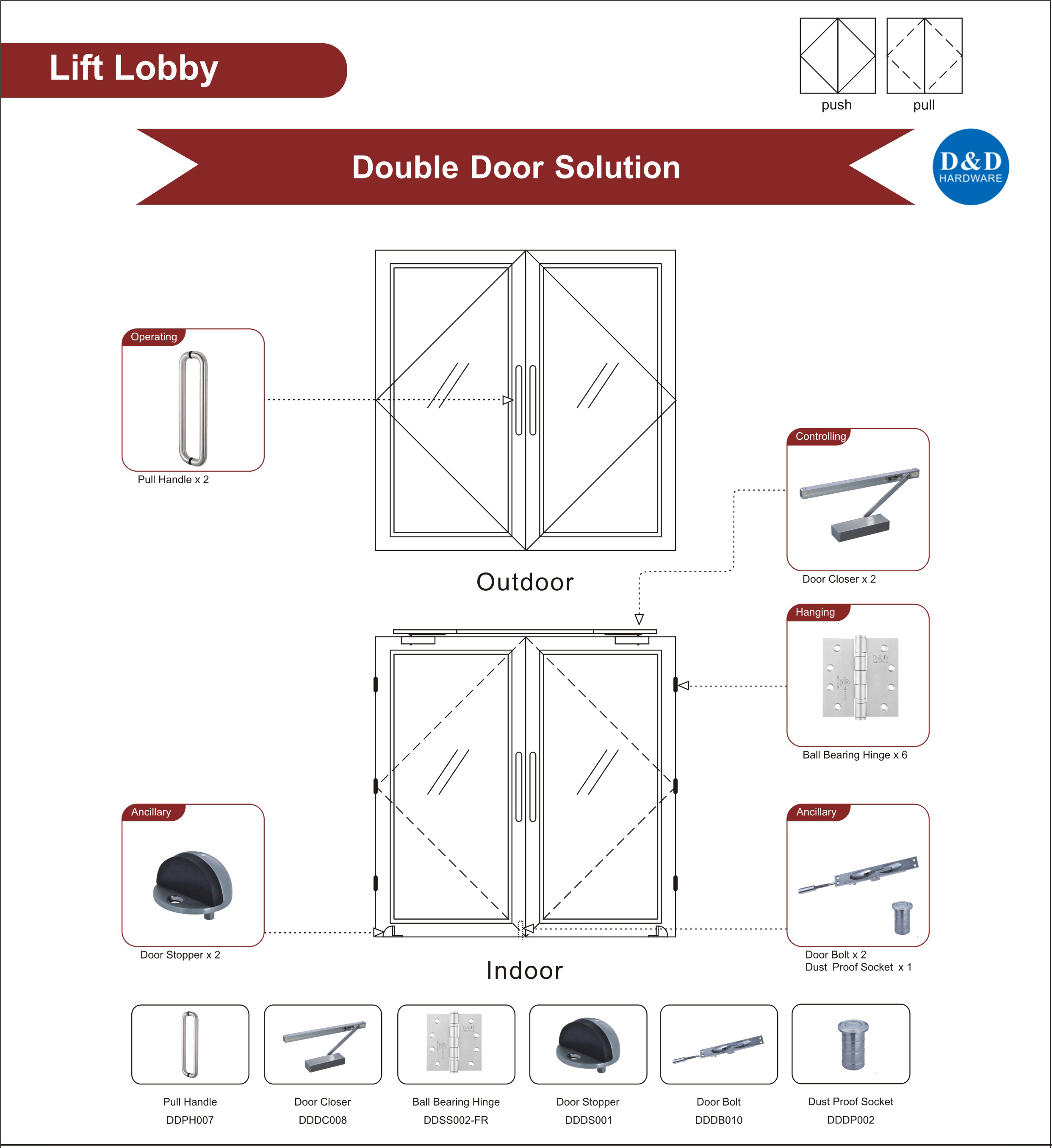 Fire Rated Glass Door Ironmongery for Lift Lobby Double Door