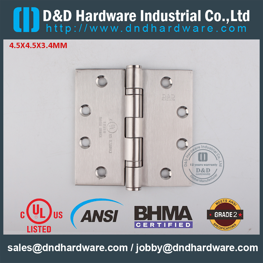 ANSI GRADE 2 DOOR HINGE with UL Listed -D&D HARDWARE