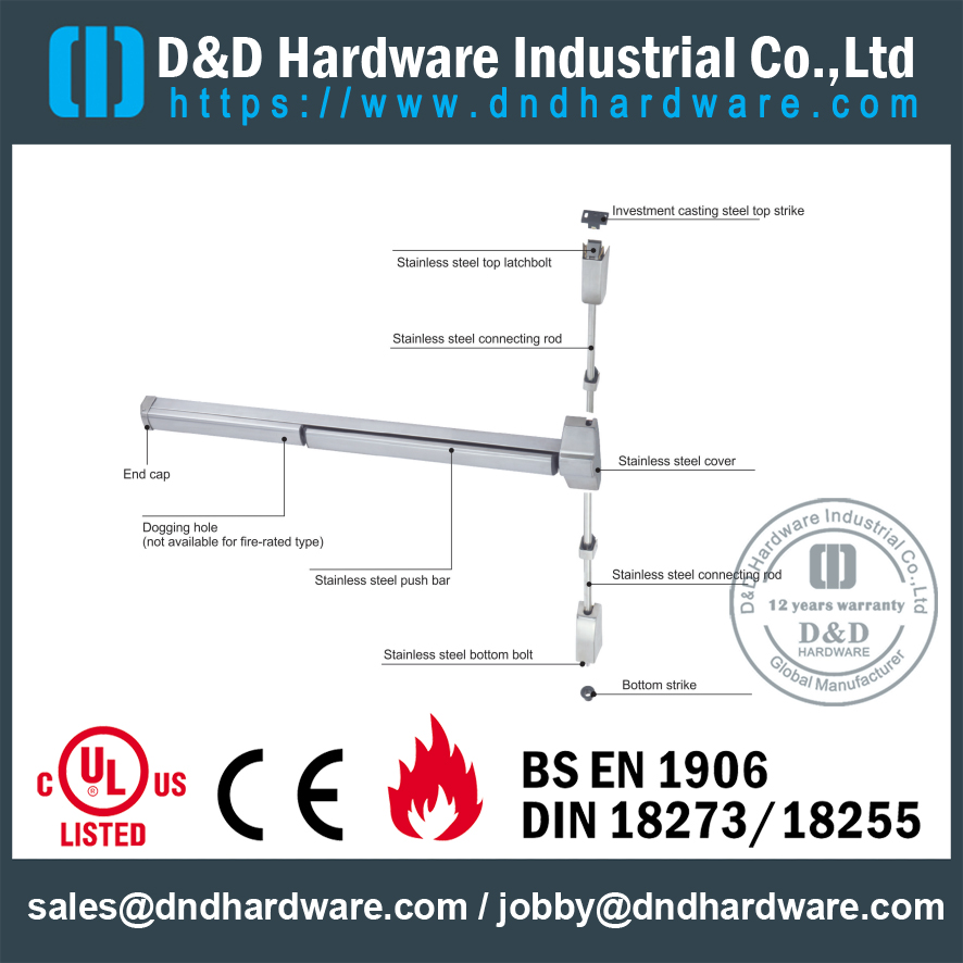 SS304 Push Bar Panic Exit Fire Rated Hardware with CE Certificate for Commercial Metal Doors-DDPD021