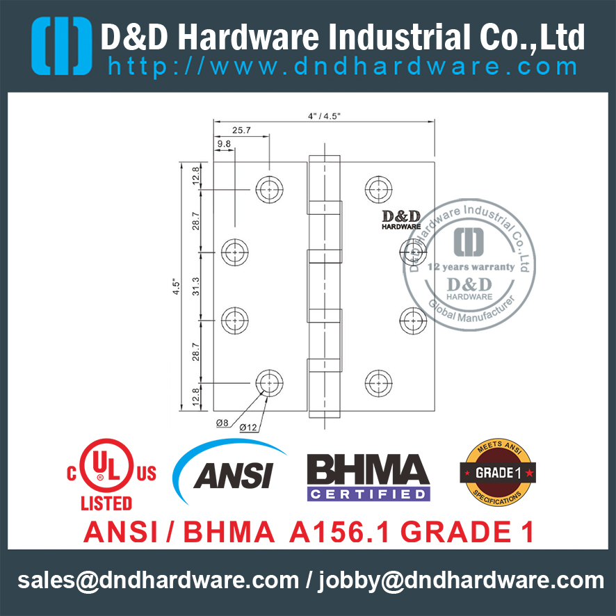 ANSI / BHMA SS304 UL 4 BB Butt Hinge- 4.5x4.5x4.6mm-4BB