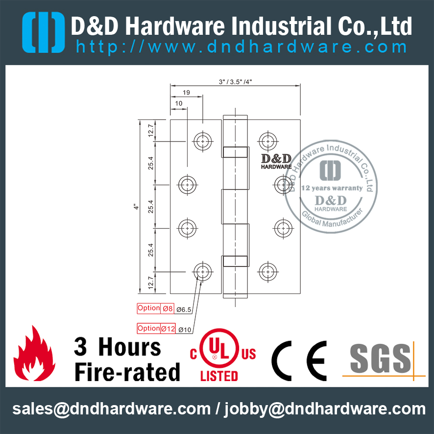 SUS304 Fire Rated UL Listed Ball Bearing Hinge for Hollow Metal Door-DDSS001-FR-4x3x3.0mm
