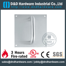 Stainless Steel 304 Lever Handle Euro Profile on Square Plate for Steel Door-DDSP021
