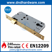 SS316 CE Polished Brass Polished finish Mortise Fire Rated Door Lock for Building Door-DDML009