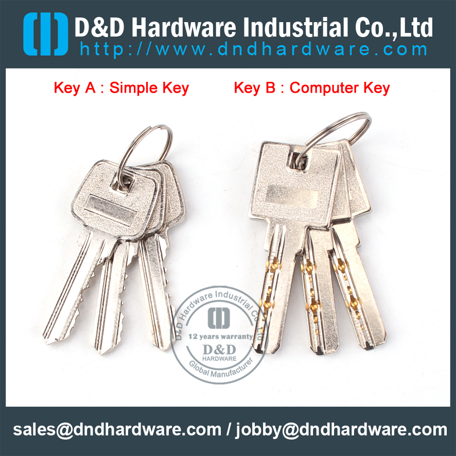 Euro profile single cylinder locks Key-D&D Hardware