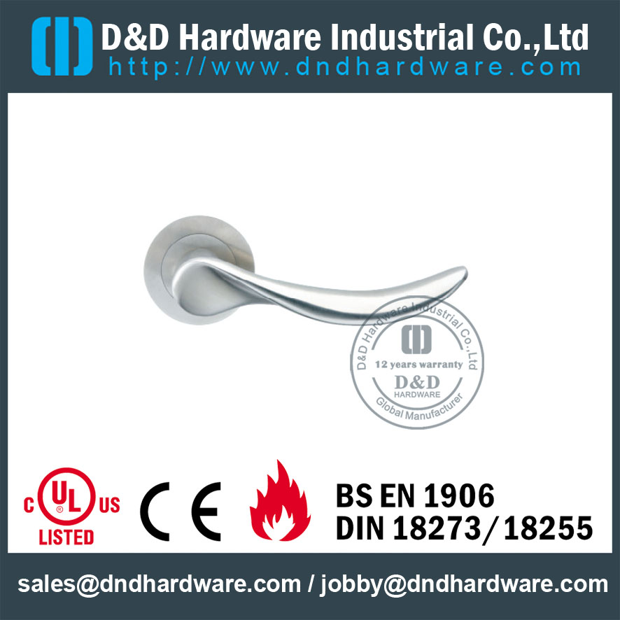 Grade 304 Casting Lever Handle on Rose Concealed Fix for Commercial Doors -DDSH006