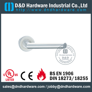 SS316 Hollow Tube Mitred Shape WC Fire Rated Door Handle for Outer Metal Door-DDTH012