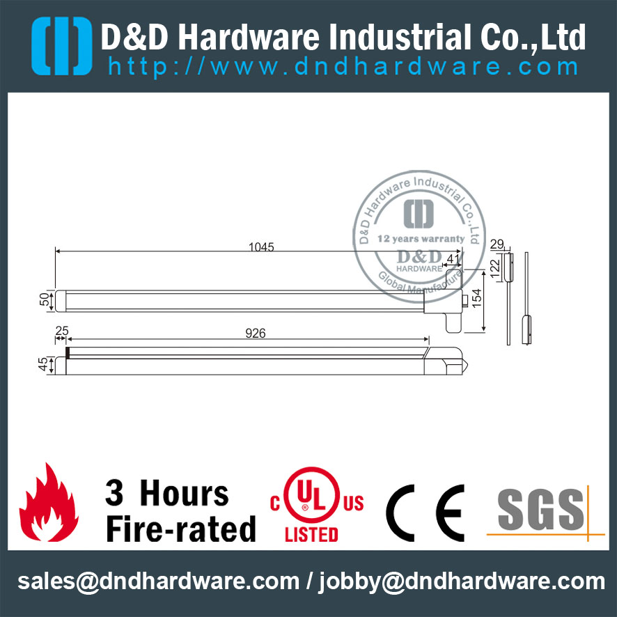SUS304 Vertical Fire Rated Rod Panic Bolt for Escape Steel Door with UL Certificate-DDPD006
