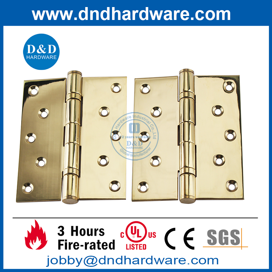 SS304 Fire Rated 2BB UL Polished Brass Polished finish Door Hinge-DDSS007-FR-5x4x3mm